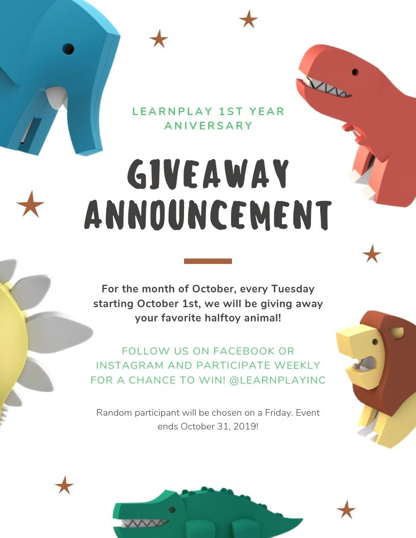 LearnPlay's 1st year anniversary giveaway