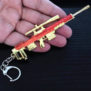 Game PUBG Playerunknown's Battlegrounds Weapons Gum Model Keychain Metal Alloy Keyring Holder 12cm For Souvenir Cosplay Props