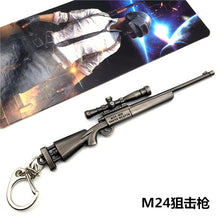 Load image into Gallery viewer, Game PUBG Playerunknown's Battlegrounds Weapons Gum Model Keychain Metal Alloy Keyring Holder 12cm For Souvenir Cosplay Props