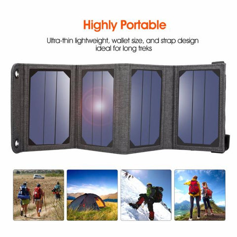 Solar Panel Charger Foldable 5V 1A USB Output Mobile Power Bank For Phone - WildGearFactory