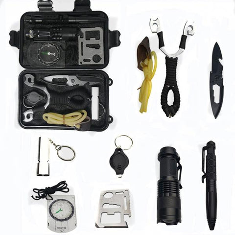 10 in 1 Survival kit  Outdoor  Multifunction First aid  Emergency Supplies Tactical+slingshot - WildGearFactory