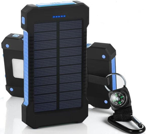 Solar Charger Waterproof 10000mah Dual USB Mobile  for All Phone With a compass - WildGearFactory
