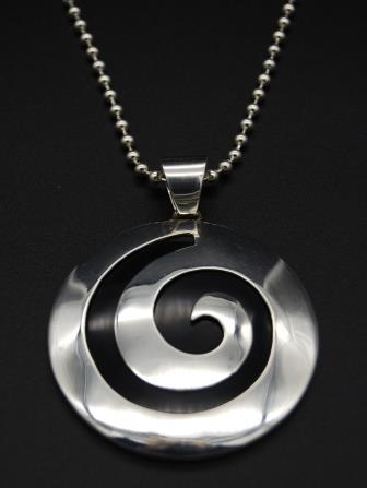 Pendant with Ball Chain - Swirl