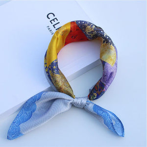 SYFS Colorful Overlay Mulberry Silk Small Square Scarf