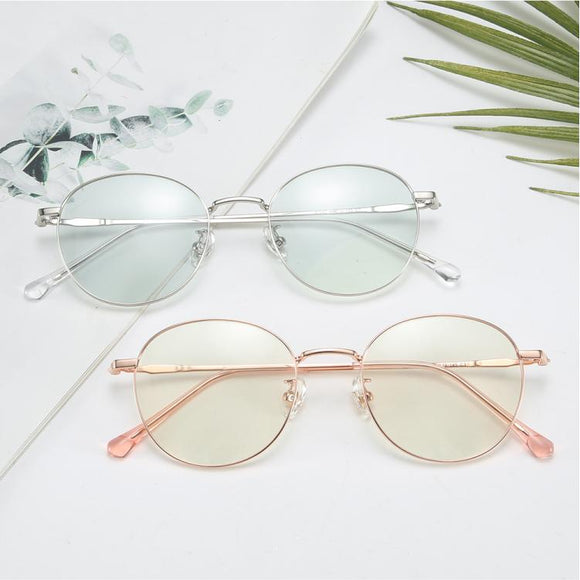 DF Round-frame Anti-blue Light Flat Glasses