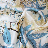 SYFS Plant -print Mulberry Silk Small Square Scarf