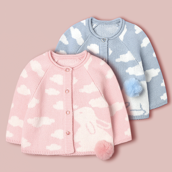 Children's Winter Top Thickened with Cute Bunny Sweater