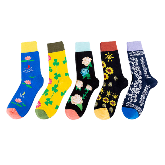 JSSK Colored Flowers Socks