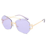 DF Irregular Metal Rimless Sunglasses