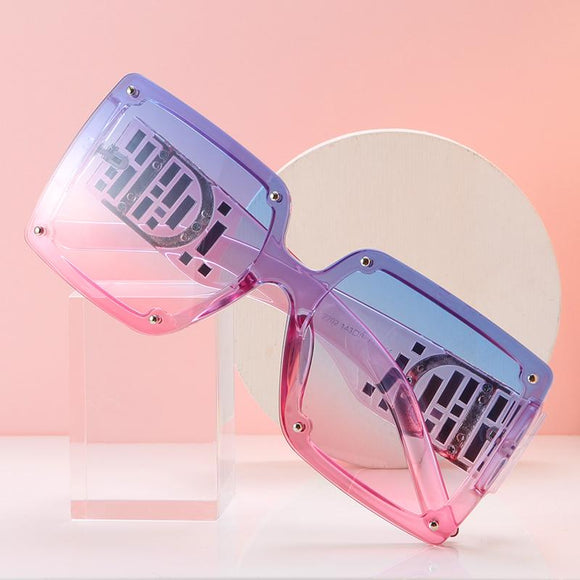 DF Large Frame Square One-piece Color Sunglasses