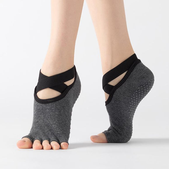 HJ Non-Slip Open Toe Bandage Yoga Socks
