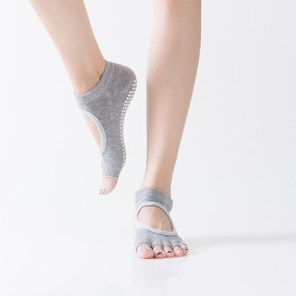HJ Non-Slip Open Toe Backless Dispensing Yoga Socks