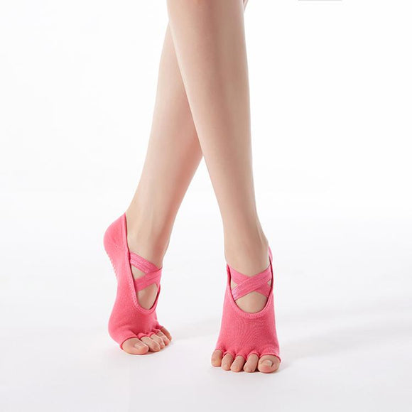 HJ Non-Slip Open Toe Cross tie Dispensing Yoga Socks