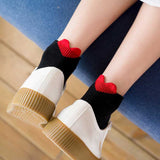 Thin cotton boat socks with shallow heel and heart shape