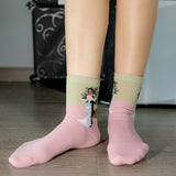 Literary Style Oil Painting Girl Socks