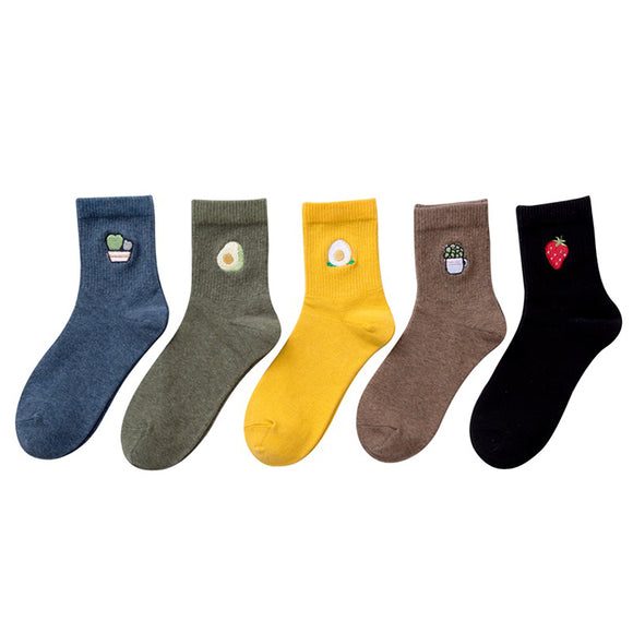 OFP Embroidered Fruit Cotton Solid Color Lady Socks