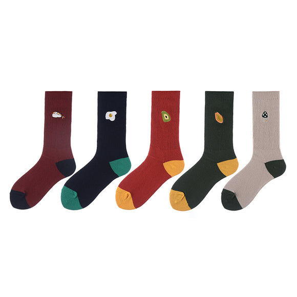 Solid Color Fruit Tag Lady Socks