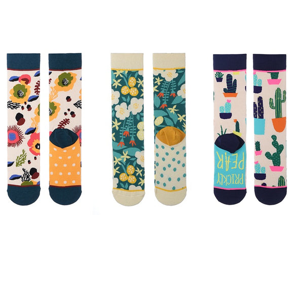 Flowers and Cactus Tube Lady Socks