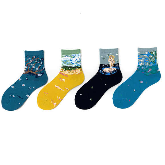Landscape Portrait Oil Painting Socks