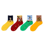College Style Oil Painting Girl Socks