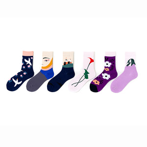 Fresh Pink and Purple Style Girl Socks