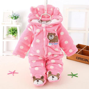Thickened Cartoon Hooded Baby Crawling Suit