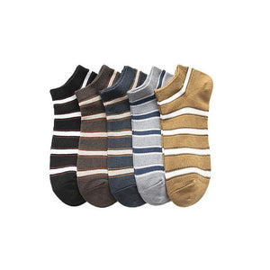Men's Solid Color Striped Low Socks