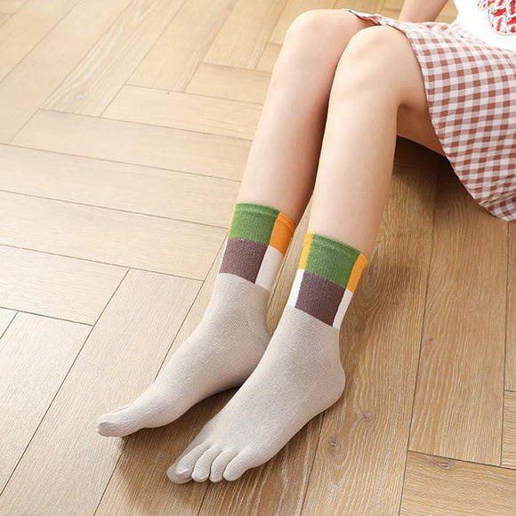 Lady's Four Color Top Toe Socks