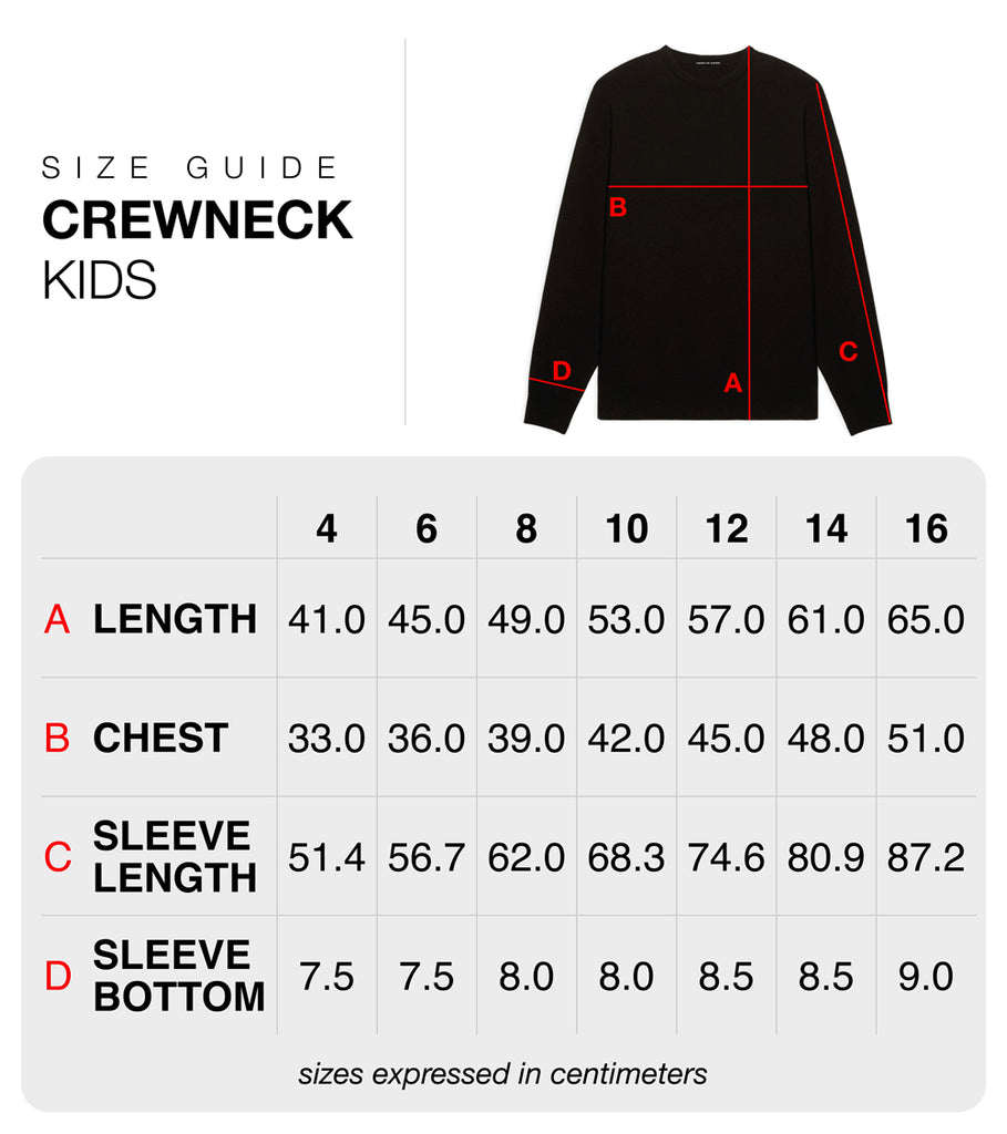 Size guide kids crewneck