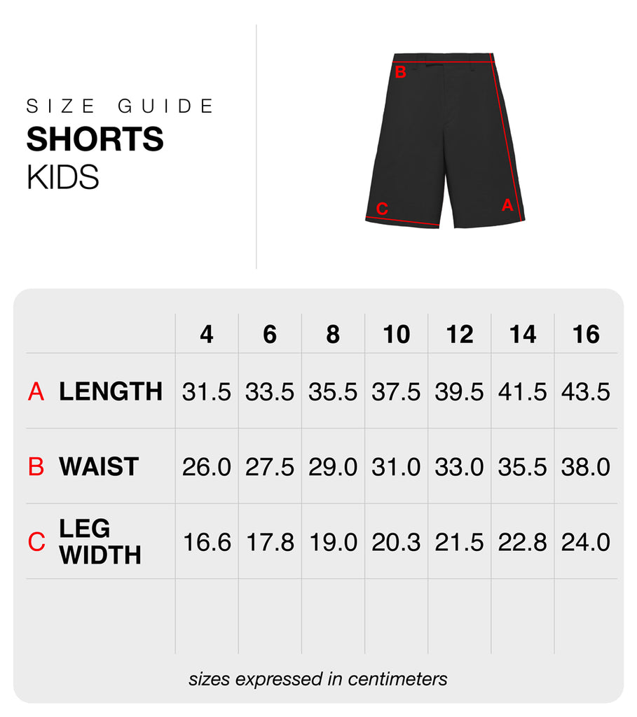 Size guide kids shorts