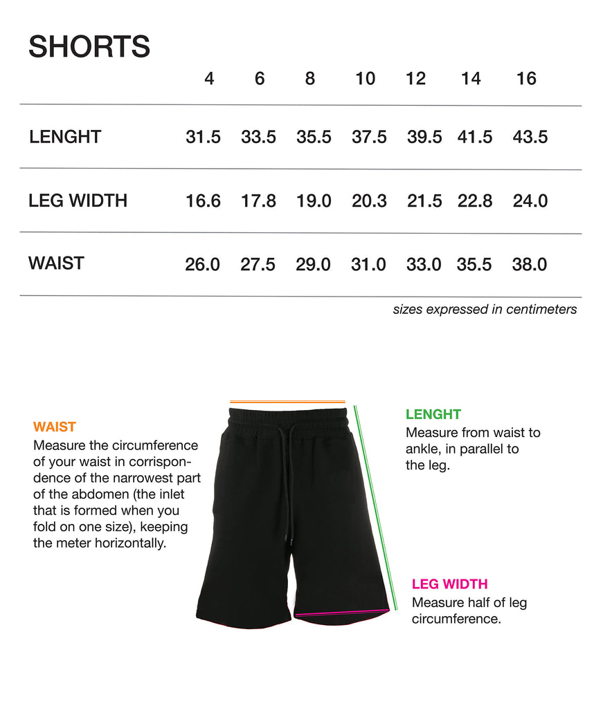 VOS-SIZE CHART KIDS-SHORTS