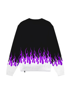 White and Purple Double Flames 2.0 Black Crewneck