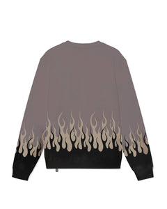 Black and Beige Double Flames 2.0 Crewneck