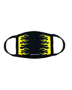 Yellow Fluo Flames 2.0 FaceMask