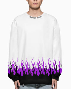 Black and Purple Double Flames 2.0 White Crewneck