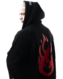 Black Zipped Hoodie With Flame Back