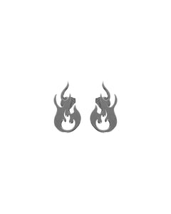 Flame Logo Silver Earrings