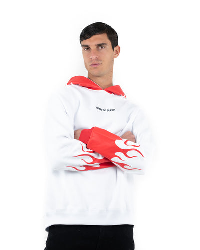 Vision of Super - Red Flames 2.0 White Hoodie