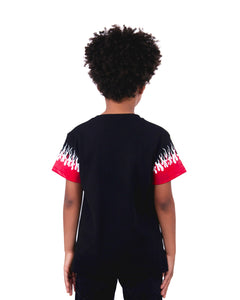 Kids - Red-White Double Flames Black T-shirt