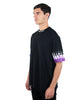 Purple-White Double Flames Black T-shirt
