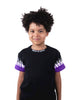 Kids - Purple-White Double Flames Black T-shirt