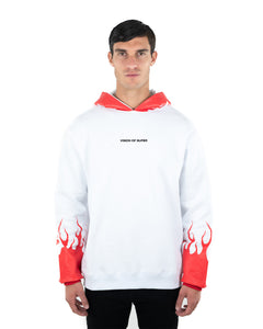 Red Flames 2.0 White Hoodie