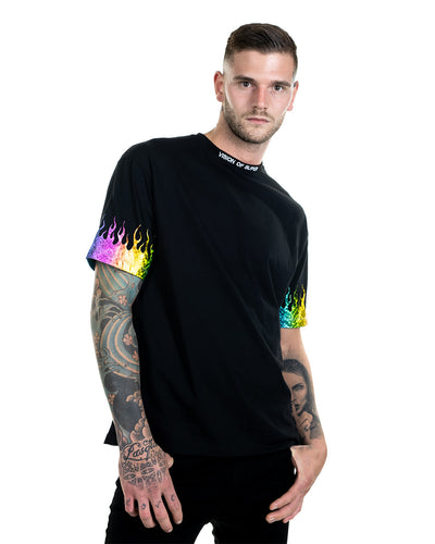 Vision of Super - Rainbow Flames Black T-shirt