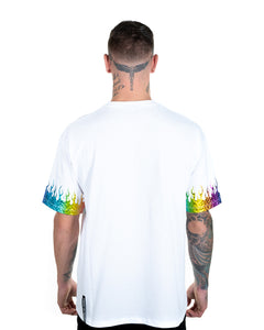 Rainbow Flames White T-shirt
