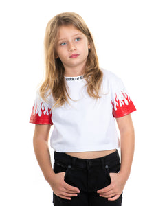 Kids - Red Flames White Crop T-shirt