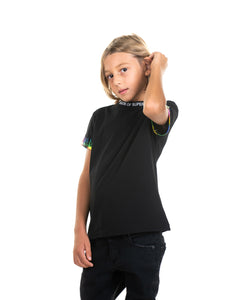 Kids - Rainbow Flames Black T-shirt