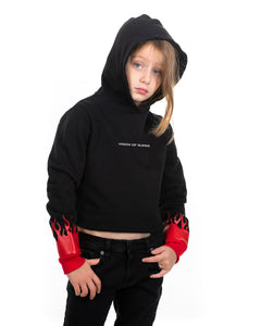 Kids - Red Flames Black Hoodie
