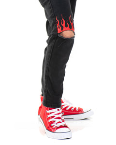 Kids - Red Flames black Denim