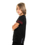 Kids - Red embroidered Flames Black T-shirt