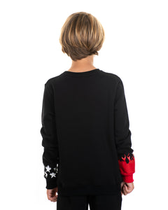 Kids - Red flames and White Stars Black Crewneck
